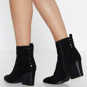 NASTY GAL; Black Faux Suede Pointed Booties